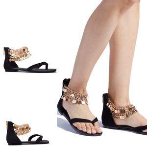 Shoe Dazzle Embellished Black Flat Sandals Size 10